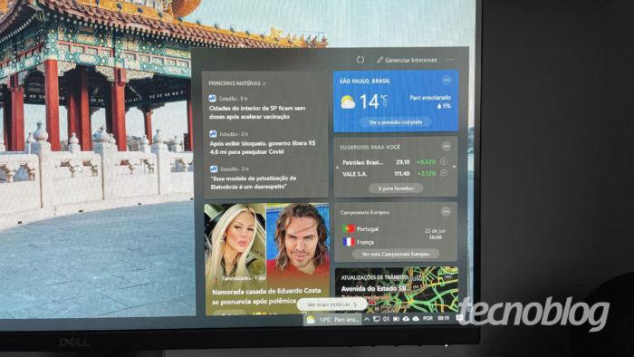 Bug no Notícias e Interesses do Windows 10 (Imagem: Darlan Helder/Tecnoblog)