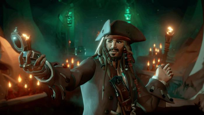 Jack Sparrow em Sea of Thieves: A Pirate's Life (Imagem: Reprodução)