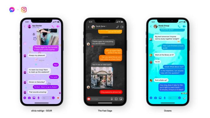 Novas temas do Facebook Messenger e Instagram (Imagem: Facebook/ Divulgação)