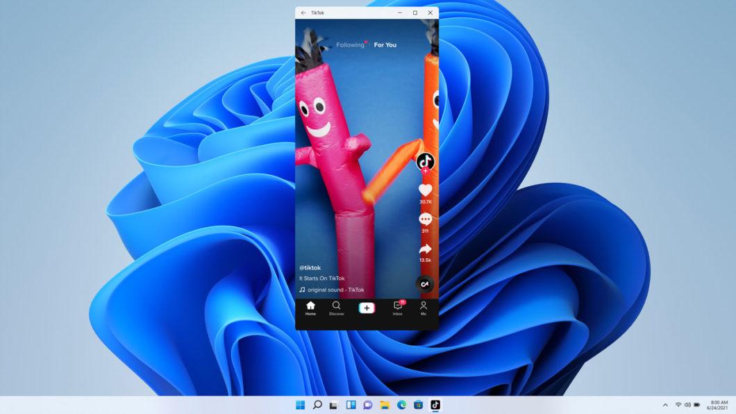 TikTok e outros apps de <a href='https://meuspy.com/tag/Espiao-para-Android-gratis'>Android</a> rodarão no Windows 11 (imagem: divulgação/Microsoft)