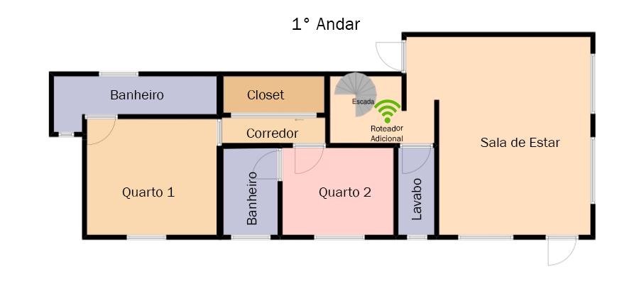 Planta da residência no 1° andar, onde foi posicionado o equipamento adicional do TP-Link Deco X20