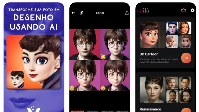Voilá AI Artist transforma rostos em desenhos (Imagem: Reprodução / App Store)