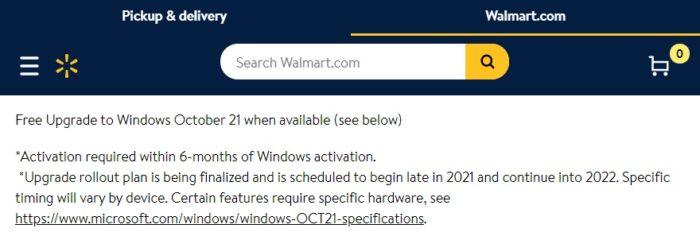 Walmart diz que atualização para Windows 11 chega em outubro (Imagem: Reprodução)