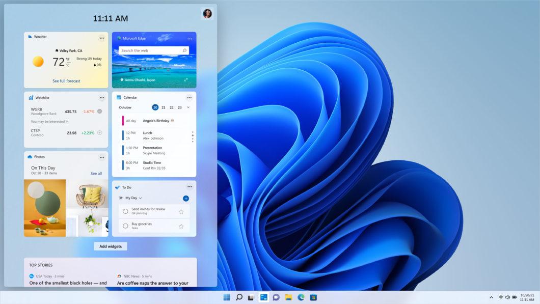 Widgets no Windows 11 (Imagem: Divulgação / Microsoft)