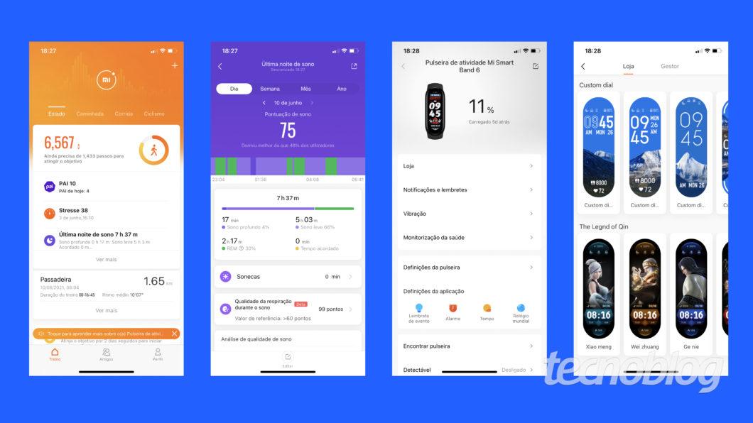 Telas do aplicativo Mi Fit da Xiaomi Mi Band 6 (Imagem: Darlan Helder/Tecnoblog)