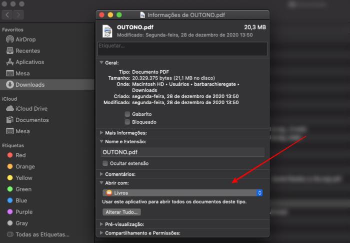 alterar programa padrão abrir arquivo mac (imagem: reprodução/mac)