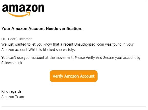 E-mail falso em nome da Amazon (imagem: Check Point)