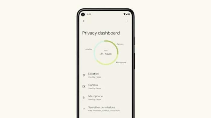 Painel de privacidade do <a href='https://meuspy.com/tag/Espiao-para-Android-gratis'>Android</a> 12 (Imagem: Reprodução/Google)