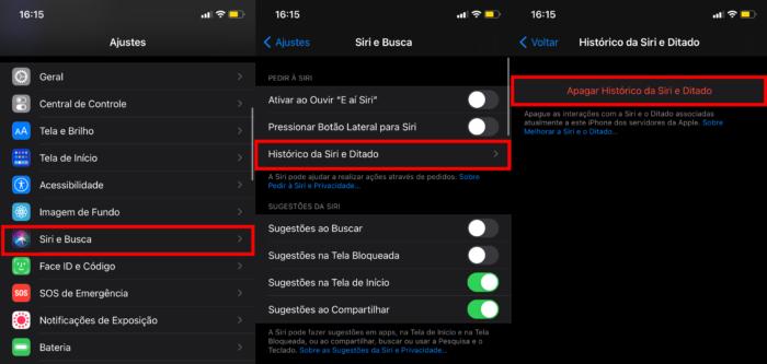 Apague as gravações da Siri no iPhone, iPad ou iPod touch (Imagem: Reprodução/iOS)