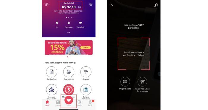É no app que você fará o pagamento através do seu saldo de cashback Ame (Imagem: Reprodução / Ame)
