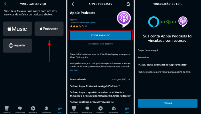 Alexa e Apple Podcasts (Imagem: Reprodução/Alexa)
