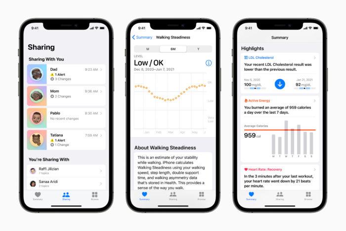 iOS 15 traz novidades no app Saúde (Imagem: Divulgação/Apple)