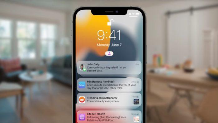 Notificações no iOS 15 (Imagem: Divulgação / Apple)