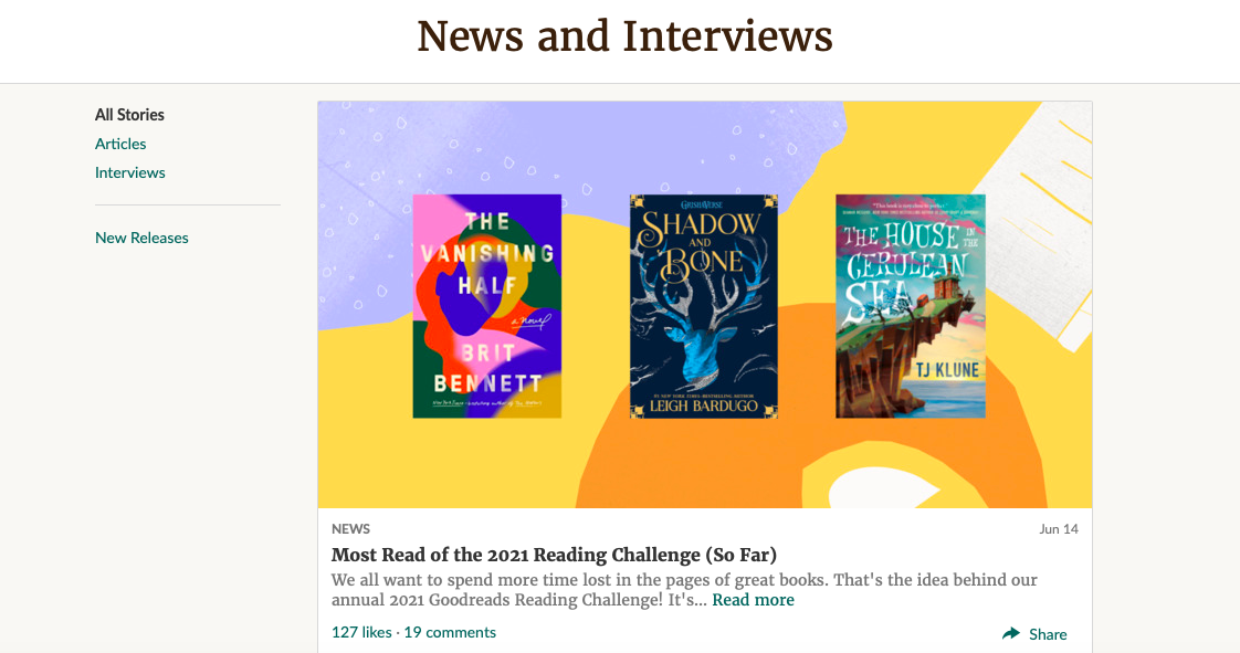 Goodreads articles and recommendations (Image: Reproduction/GR)