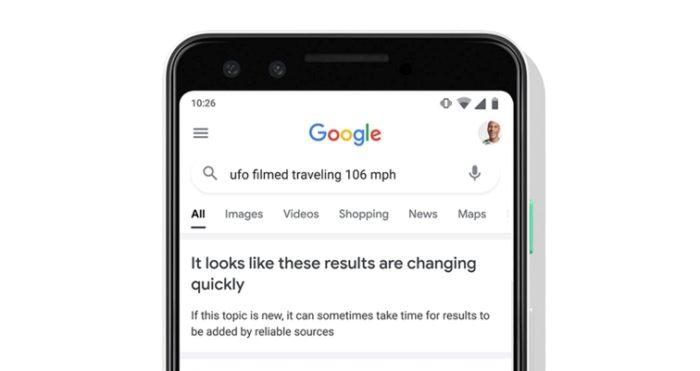 Aviso sobre resultados que mudam rapidamente (imagem: divulgação/Google)