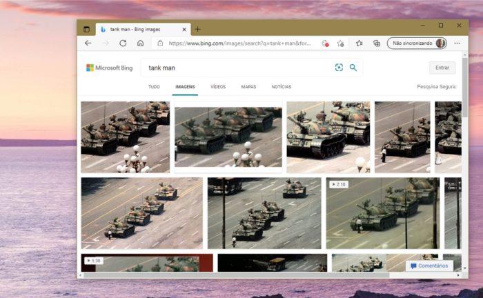 """O Bing agora exibe normalmente imagens para """"Tank Man"""" (imagem: Emerson Alecrim/Tecnoblog)"""