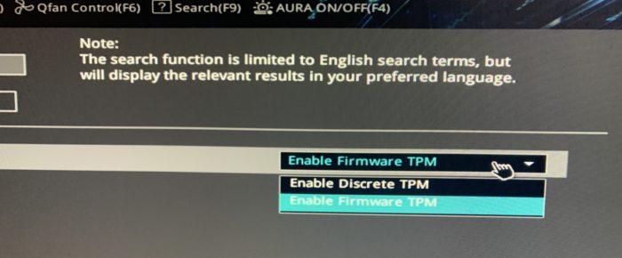 """Escolha a opção """"Firmware TPM"""" para poder instalar o Windows 11 (Imagem: Reprodução)"""