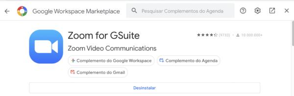 Adicionar complemento do Zoom Meetings no calendário do Google