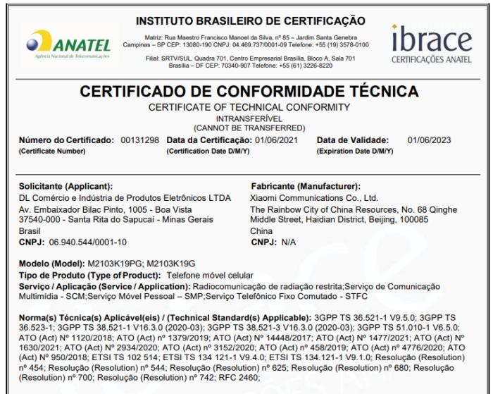 Certificado de conformidade técnica do Redmi Note 10 5G/Poco M3 Pro (Imagem: Reprodução/Anatel)