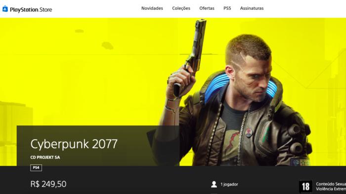Cyberpunk 2077 está na PS Store (Imagem: Reprodução)