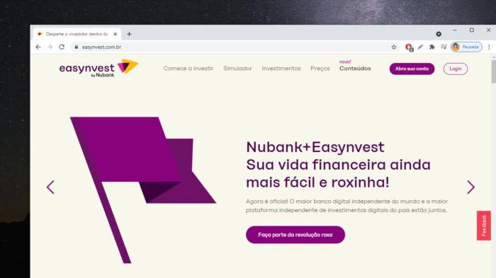 Easynvest by Nubank (Imagem: Reprodução)