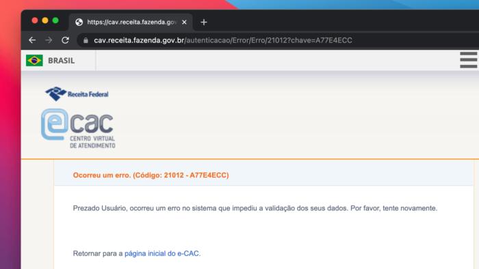 Portal e-CAC da Receita Federal fica fora do ar nesta terça (15)