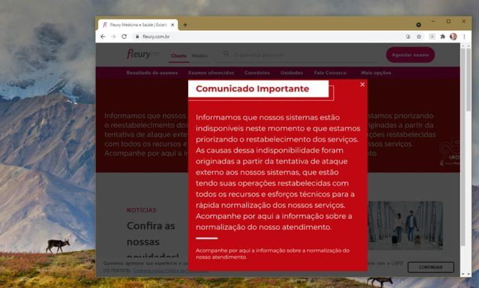 Fleury's website shows warning of unavailable systems (screenshot: Emerson Alecrim/Tecnoblog)