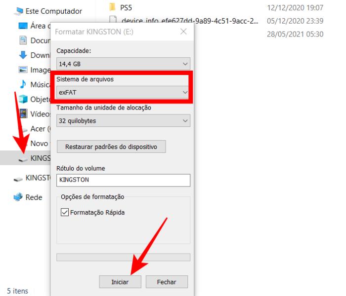 Formatar um cartão microSD pelo Windows (Imagem: Reprodução/Microsoft)