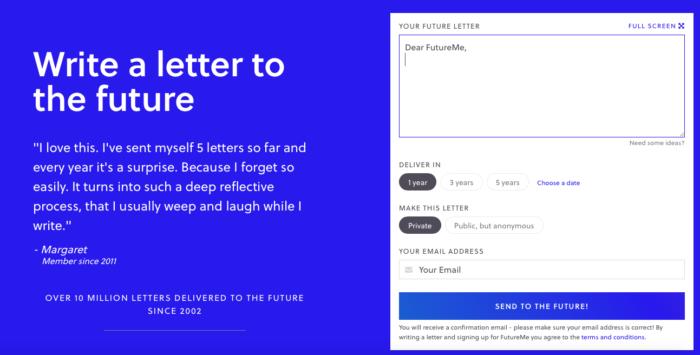 Escreva uma carta e a receba por e-mail na data escolhida (Imagem: Reprodução/FutureMe)