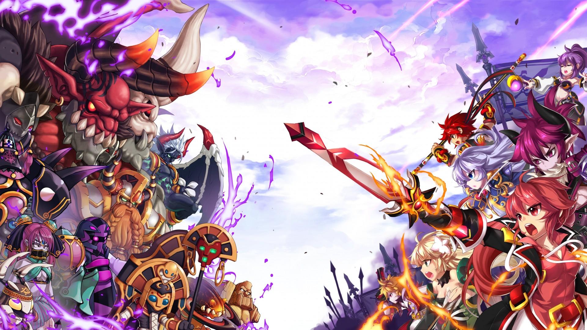 Grand Chase: Elenco de personagens jogáveis contra monstros do jogo.