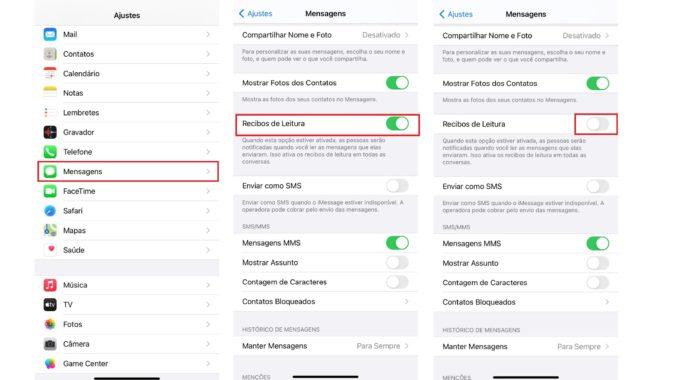 Desabilite o recurso Recibos de Leitura no seu iPhone (Imagem: Reprodução / iOS)