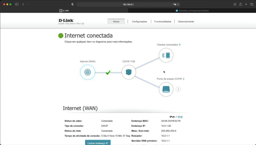 D-Link Covr 1103 web interface (Reproduction: Lucas Braga/Tecnoblog)