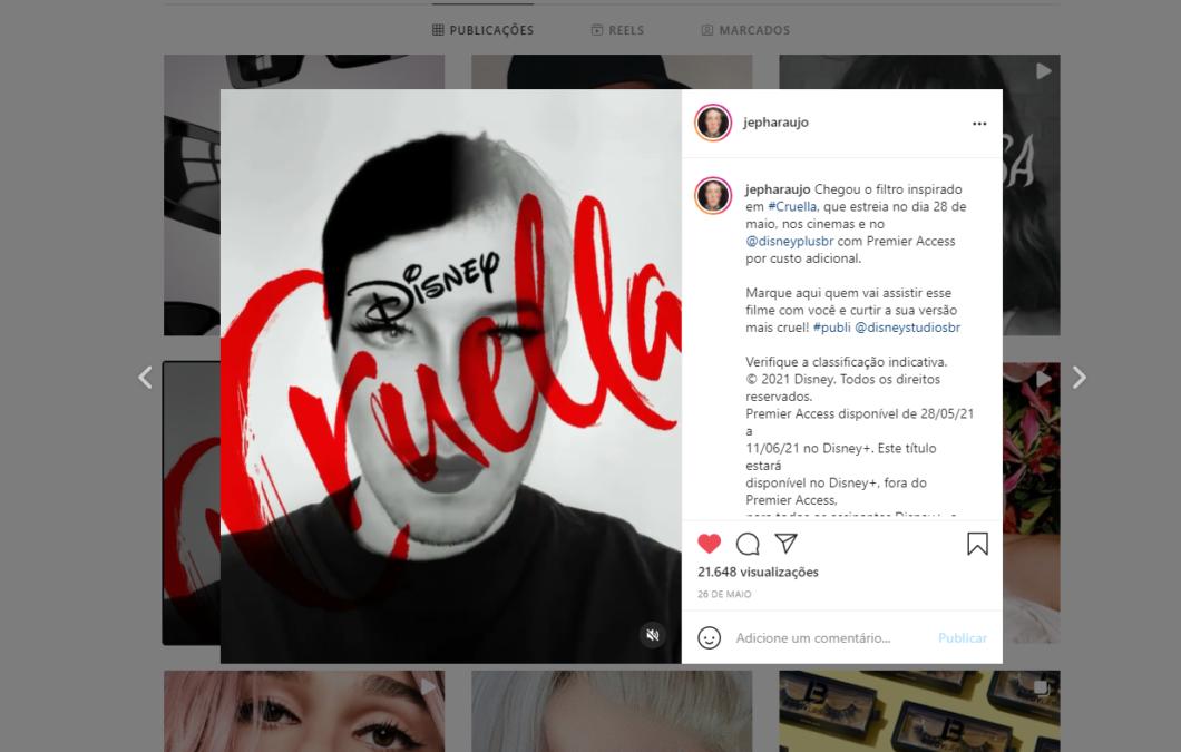 Jeph developed filter for Disney (Image: Playback/Instagram)