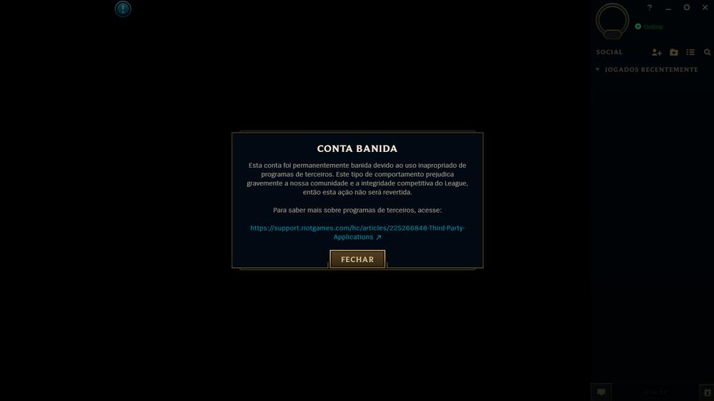 Aviso de banimento em League of Legends (Imagem: Reprodução)