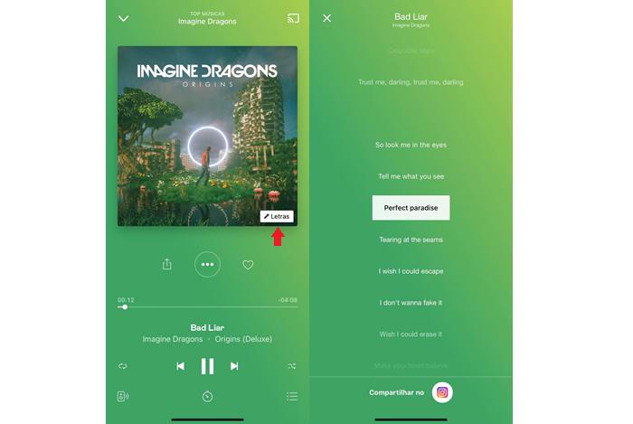Reprodução de música com letra no smartphone (Imagem: Reprodução/Deezer)