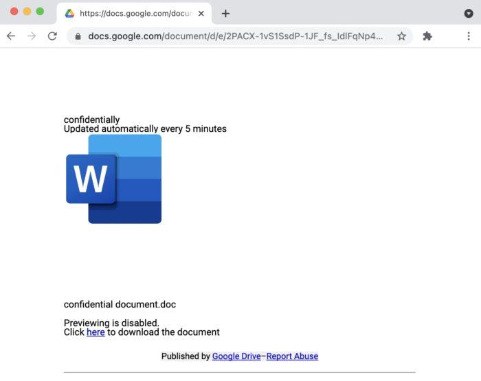 Link malicioso no Google Docs (imagem: Avanan)