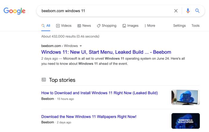 Busca do Google ainda mostrava links para download do Windows 11 vazado (Imagem: Reprodução/Google)
