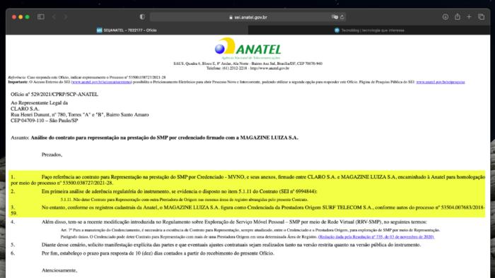Ofício da Anatel sobre contrato entre Claro e Magazine Luiza