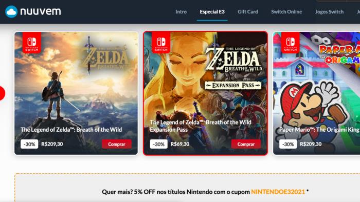 Nintendo e Nuuvem oferecem promoção da E3 2021 (Imagem: Reprodução)