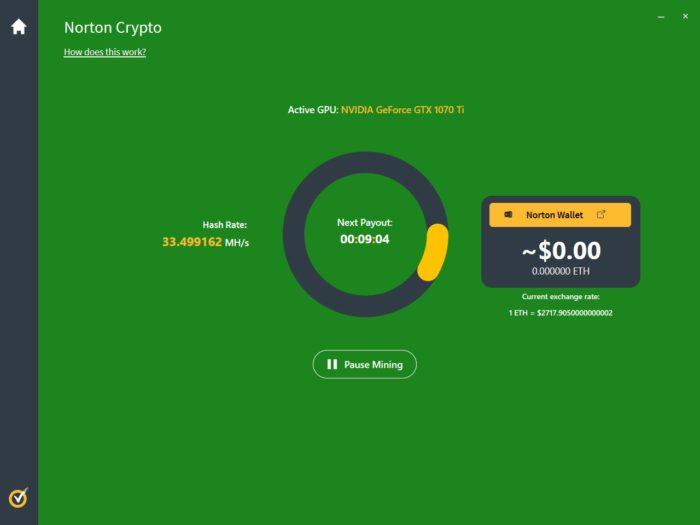 Mineração com Norton Crypto apresenta baixa lucratividade (Imagem: Reprodução/BleepingComputer)