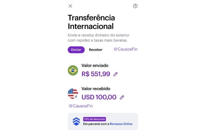 Nubank pode ganhar transferência internacional (Imagem: Reprodução/CasosFin via Twitter)