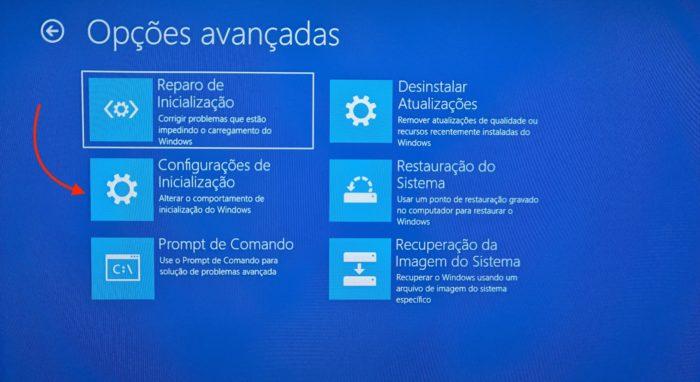 Opções avançadas de inicialização do Windows 10 (Imagem: Reprodução/Microsoft)