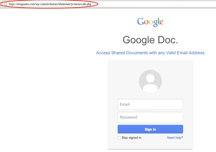 Página falsa renderizada no Google Docs (imagem: Avanan)