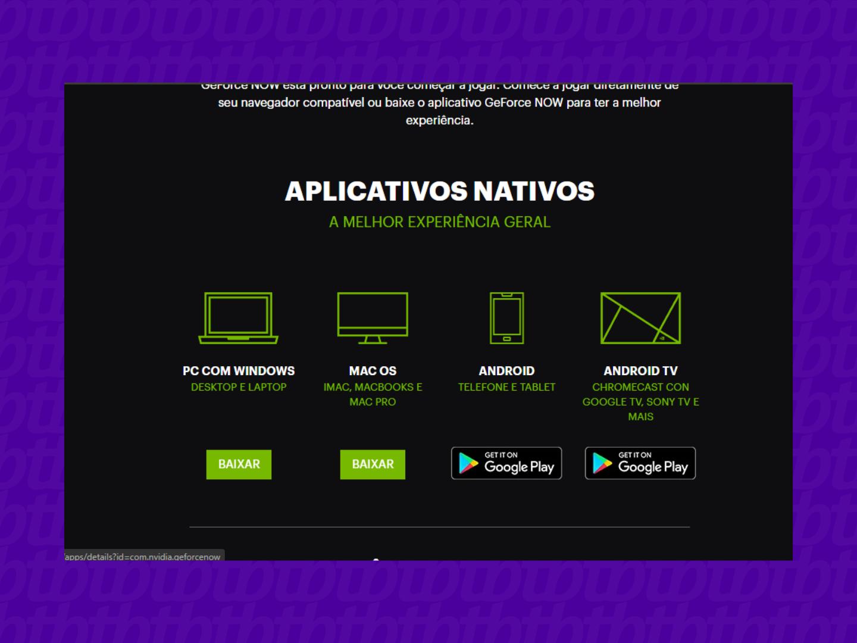 Página oficial do GeForce Now no Brasil