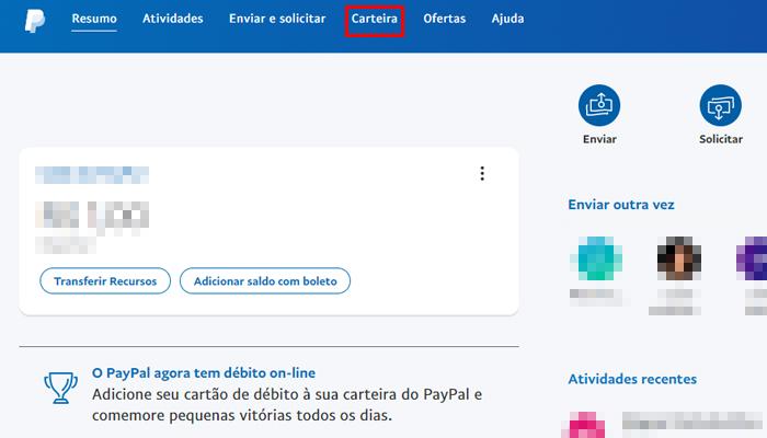 Processo para adicionar uma conta bancária no PayPal pelo PC (Imagem: Reprodução/PayPal)