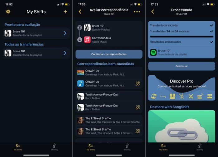 Songshift permite que você transfira playlists entre apps de streaming de música (Imagem: Reprodução/SongShift)