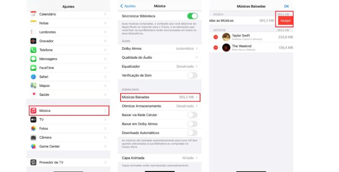 """É possível apagar todas as músicas do Apple Music pelo menu de """"Ajustes"""" (Imagem: Reprodução / iOS)"""