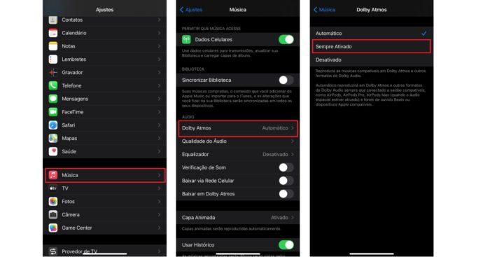 Com a opção Automática ativada, apenas aparelhos compatíveis podem reproduzir o Dolby Atmos (Imagem: Reprodução / iOS)