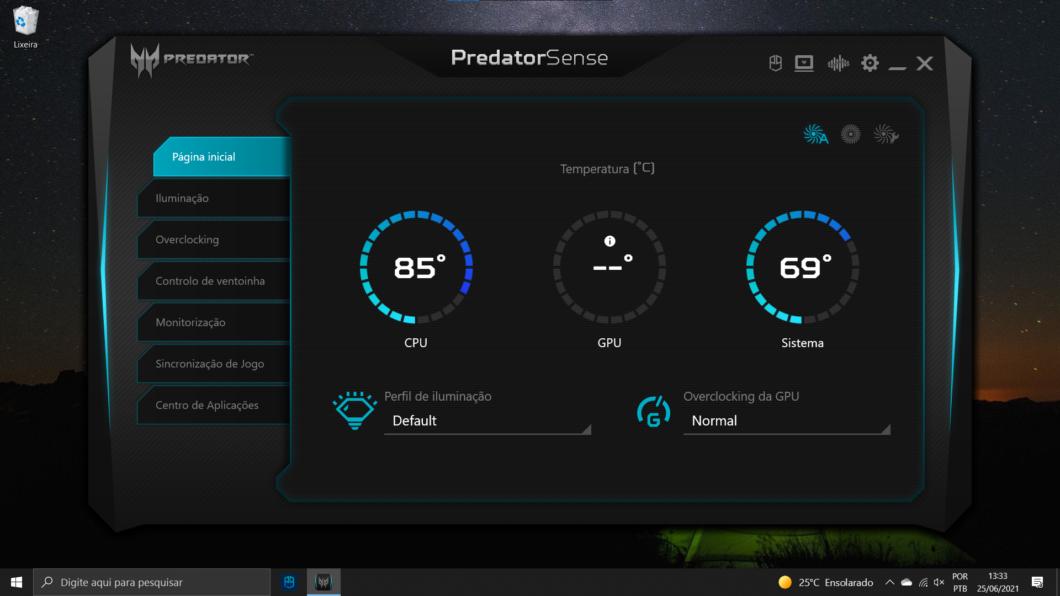 App PredatorSense (Imagem: reprodução/Acer)