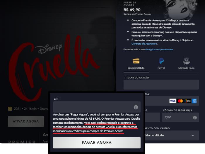 Adicione uma forma de pagamento válida para comprar um título (Imagem: Reprodução/Disney+)